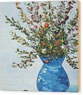 Wildflowers In A Blue Vase Wood Print