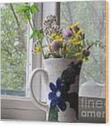 Wildflowers In Vase Wood Print
