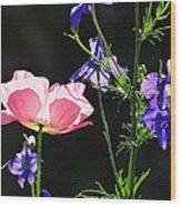 Wildflowers On Black Wood Print