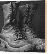Wildland Fire Boots Still Life Wood Print