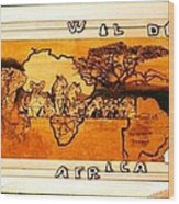Wildlife Africa- Botswana  Safari Wood Pyrography Fine Art Wood Print