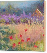 Wildrain Retreat - Lavender And Poppies Wood Print