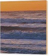 Wildwood Beach Golden Sky Wood Print