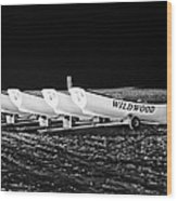 Wildwood Lifeboats At Night In Black And White Wood Print