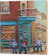 Wilensky Montreal-fairmount And Clark-montreal City Scene Painting Wood Print by Carole Spandau