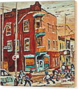 Wilenskys Paintings Hockey Art Commissions Originals Prints By Authentic Montreal Artist C Spandau Wood Print