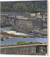Willamette Falls Dam In Oregon City Panorama 3 Wood Print