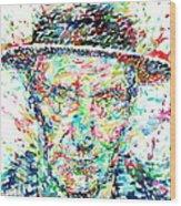 William Burroughs Watercolor Portrait Wood Print