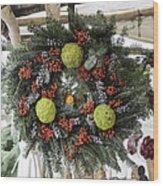 Williamsburg Wreath Squared Wood Print