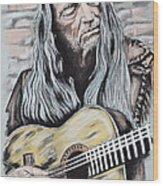 Willie Nelson Wood Print