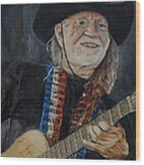 Willie Nelson Wood Print