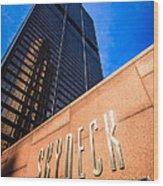 Willis-sears Tower Skydeck Sign Wood Print by Paul Velgos
