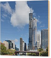 Willis Tower And 311 South Wacker Drive Chicago Wood Print