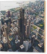Willis Tower Chicago Aloft Wood Print by Steve Gadomski