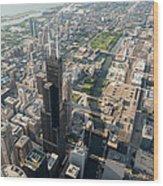 Willis Tower Southwest Chicago Aloft Wood Print