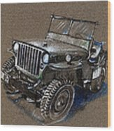 Willys Car Drawing Wood Print