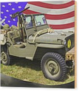 Willys World War Two Army Jeep And American Flag Wood Print