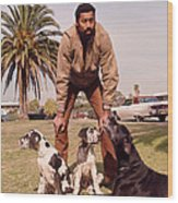 Wilt Chamberlain With Dogs Wood Print