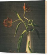 Wilted Tulips Wood Print