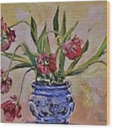 Wilting Tulips Wood Print
