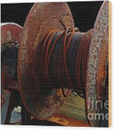 Winch - Cable - Crank - Boats Wood Print
