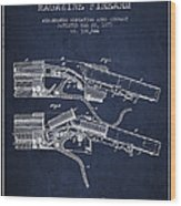 Winchester Firearm Patent Drawing From 1877 - Navy Blue Wood Print