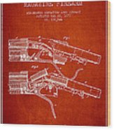 Winchester Firearm Patent Drawing From 1877 - Red Wood Print