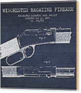 Winchester Firearm Patent Drawing From 1888- Navy Blue Wood Print
