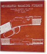 Winchester Firearm Patent Drawing From 1888- Red Wood Print