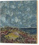 Wind Blowing The Clouds Around Over The Sea. Rincon Ventura California Wood Print
