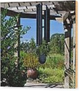 Wind Chime In A Garden Wood Print