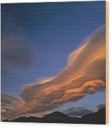 Wind Cloud Over Ben Ohau Range Wood Print
