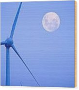 Wind Farm  And Full Moon Wood Print