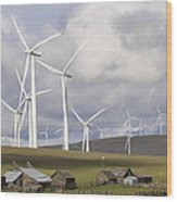 Wind Farm By Cattle Ranch In Washington State Wood Print