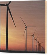 Wind Farm Sunrise Wood Print