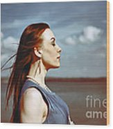 Wind In Her Hair Wood Print by Craig B