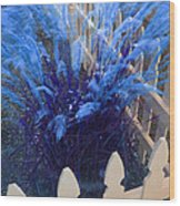 Wind In The Grass - Blue Wood Print