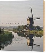 Wind Mill On A Canal, Holland Wood Print