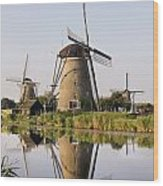 Wind Mills Next To Canal, Holland Wood Print