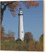 Wind Point Lighthouse 74 Wood Print