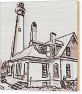 Wind Point Lighthouse Drawing Mode 1 Wood Print