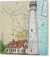 Wind Pt Lighthouse Wi Nautical Chart Map Art Cathy Peek Wood Print