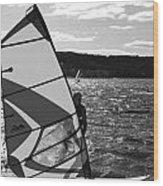 Wind Surfer II Bw Wood Print