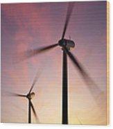 Wind Turbine Blades Spinning At Sunset Wood Print