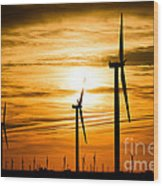 Wind Turbine Farm Picture Indiana Sunrise Wood Print