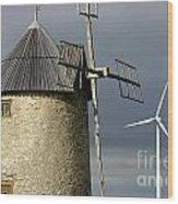 Wind Turbines And Windfarm Wood Print