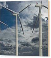 Wind Turbines Blue Sky Wood Print