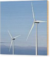 Wind Turbines In The Air Wood Print