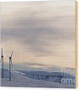 Wind Turbines In Winter Wood Print by Bernard Jaubert