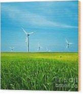 Wind Turbines On Green Field Wood Print